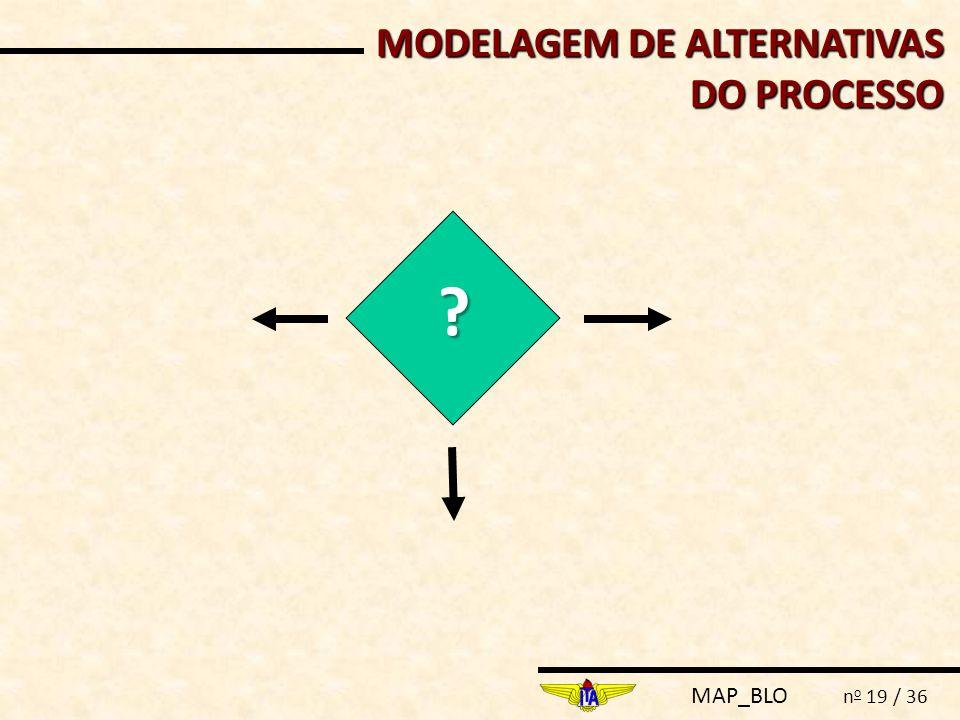 MAP_BLO n o 19 / 36 MODELAGEM DE ALTERNATIVAS DO PROCESSO ?