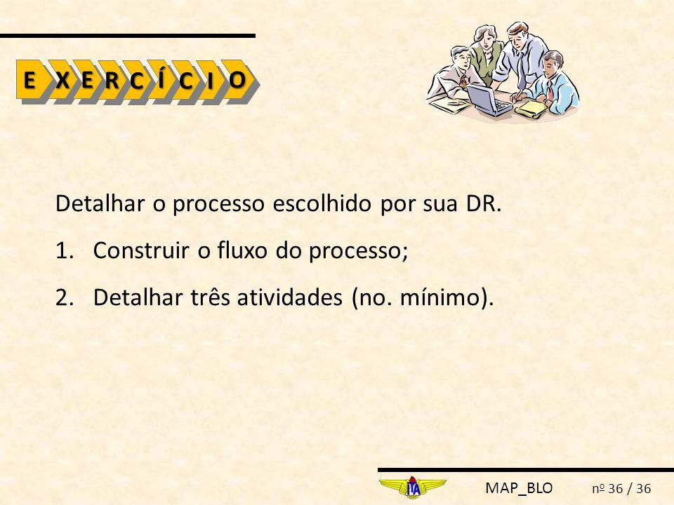 MAP_BLO n o 36 / 36 Detalhar o processo escolhido por sua DR. 1.Construir o fluxo do processo; 2.Detalhar três atividades (no. mínimo). EEXXOOEERR CC