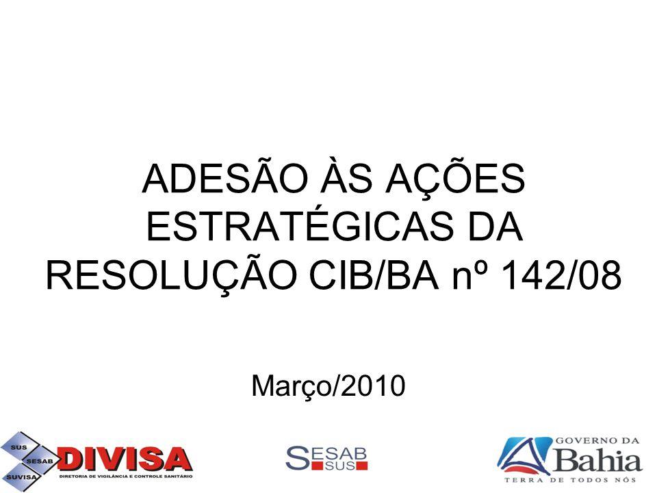 ADESÃO ÀS AÇÕES ESTRATÉGICAS DA RESOLUÇÃO CIB/BA nº 142/08 Março/2010