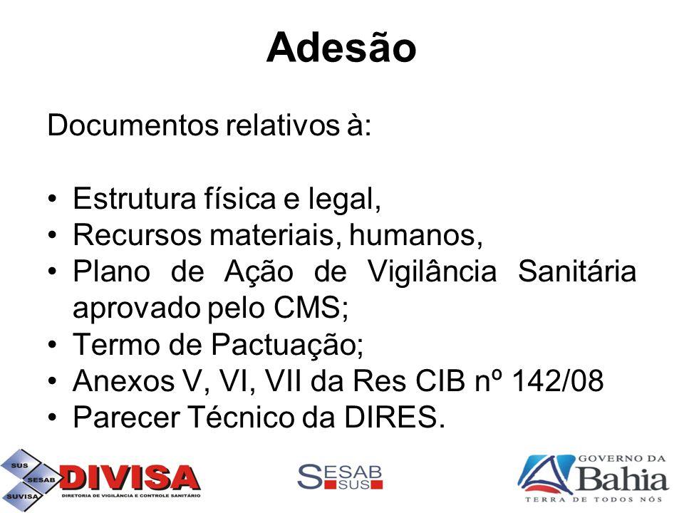 Adesão Documentos relativos à: •Estrutura física e legal, •Recursos materiais, humanos, •Plano de Ação de Vigilância Sanitária aprovado pelo CMS; •Termo de Pactuação; •Anexos V, VI, VII da Res CIB nº 142/08 •Parecer Técnico da DIRES.