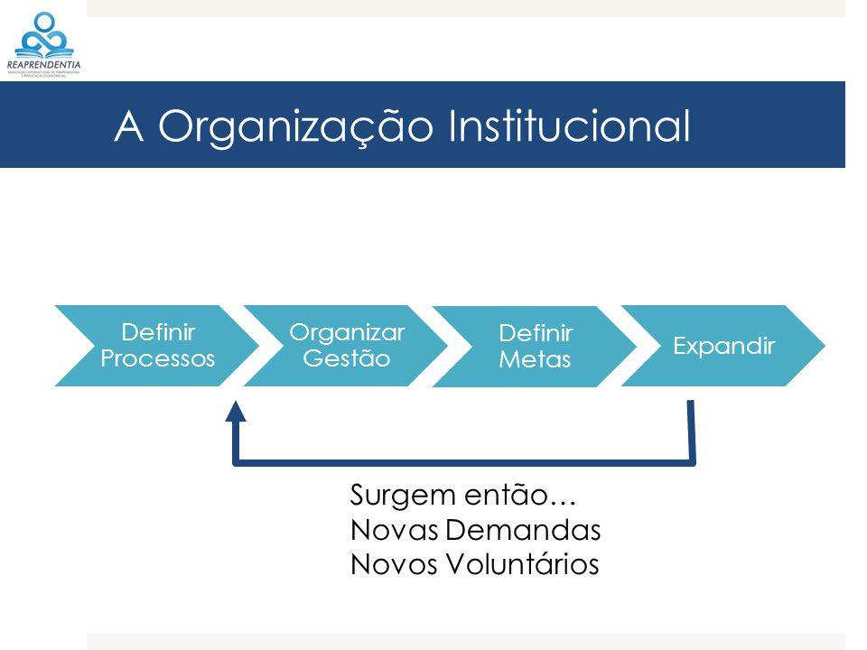 A Organização Institucional Definir Processos Organizar Gestão Definir Metas Expandir Surgem então… Novas Demandas Novos Voluntários