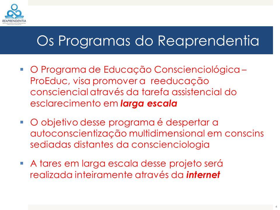 Os Programas do Reaprendentia  O Programa de Educação Conscienciológica – ProEduc, visa promover a reeducação consciencial através da tarefa assisten