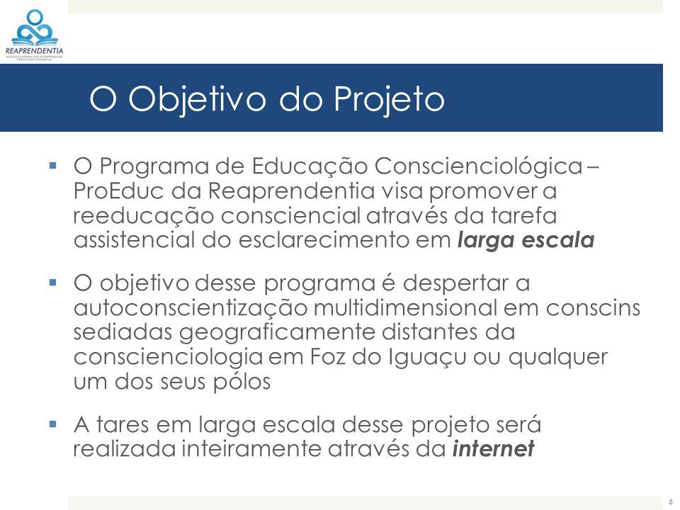 O Objetivo do Projeto  O Programa de Educação Conscienciológica – ProEduc da Reaprendentia visa promover a reeducação consciencial através da tarefa
