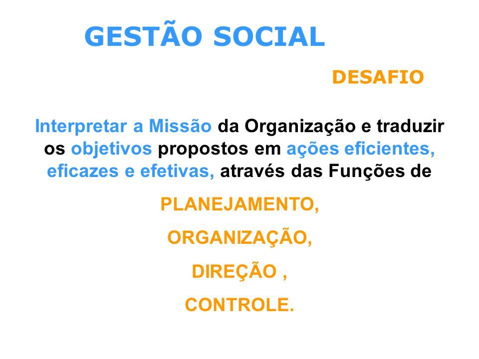GESTÃO SOCIAL DESAFIO Interpretar a Missão da Organização e traduzir os objetivos propostos em ações eficientes, eficazes e efetivas, através das Funç