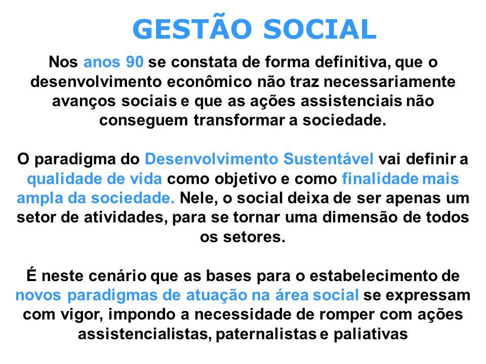GESTÃO SOCIAL Nos anos 90 se constata de forma definitiva, que o desenvolvimento econômico não traz necessariamente avanços sociais e que as ações ass