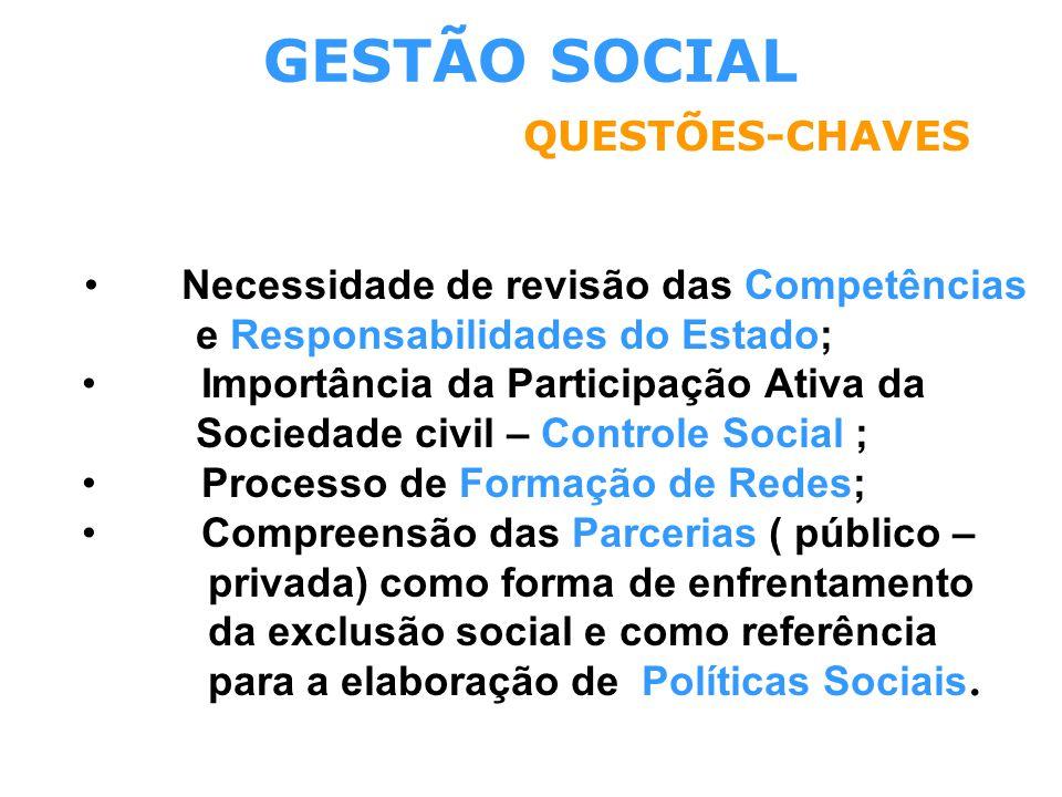 GESTÃO SOCIAL QUESTÕES-CHAVES • Necessidade de revisão das Competências e Responsabilidades do Estado; • Importância da Participação Ativa da Sociedad