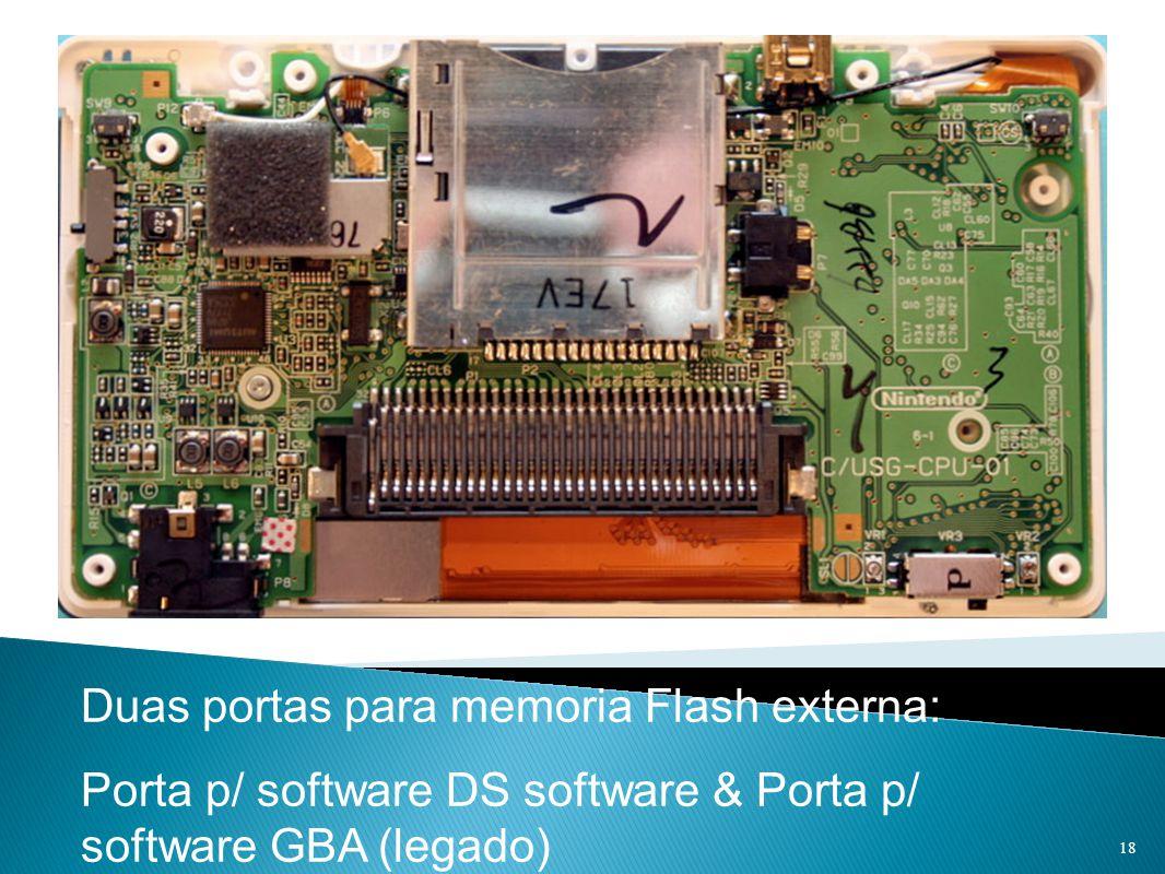 Duas portas para memoria Flash externa: Porta p/ software DS software & Porta p/ software GBA (legado) 18