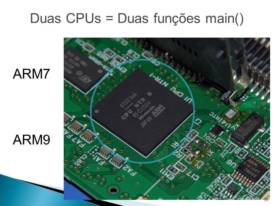 Duas CPUs = Duas funções main() ARM7 ARM9 20