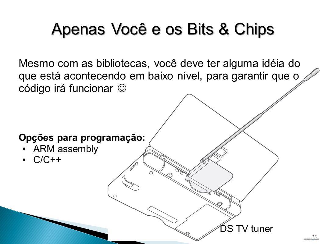 Apenas Você e os Bits & Chips Mesmo com as bibliotecas, você deve ter alguma idéia do que está acontecendo em baixo nível, para garantir que o código irá funcionar  Opções para programação: •ARM assembly •C/C++ DS TV tuner 25