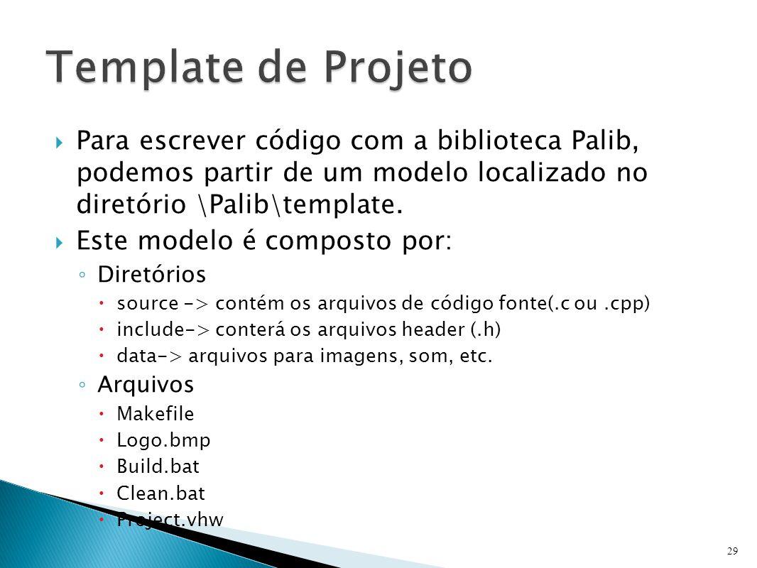  Para escrever código com a biblioteca Palib, podemos partir de um modelo localizado no diretório \Palib\template.  Este modelo é composto por: ◦ Di