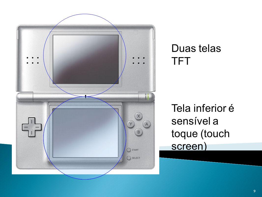 Duas telas TFT Tela inferior é sensível a toque (touch screen) 9