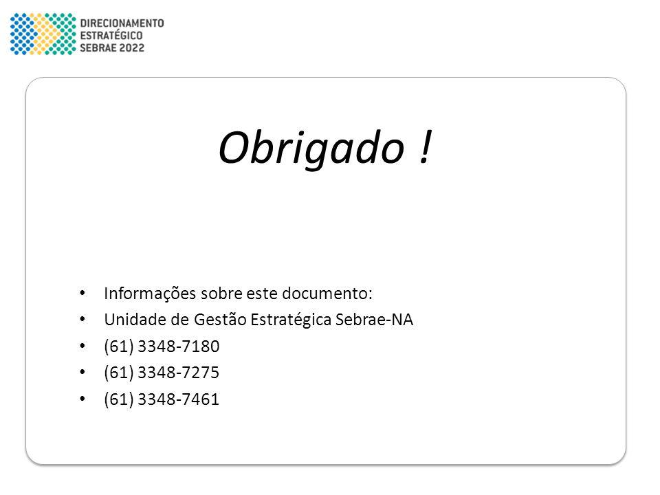 Obrigado ! • Informações sobre este documento: • Unidade de Gestão Estratégica Sebrae-NA • (61) 3348-7180 • (61) 3348-7275 • (61) 3348-7461