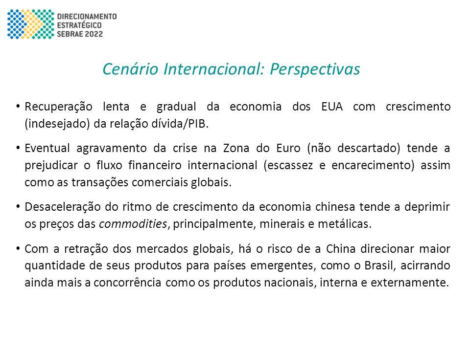 Cenário Internacional: Perspectivas • Recuperação lenta e gradual da economia dos EUA com crescimento (indesejado) da relação dívida/PIB. • Eventual a