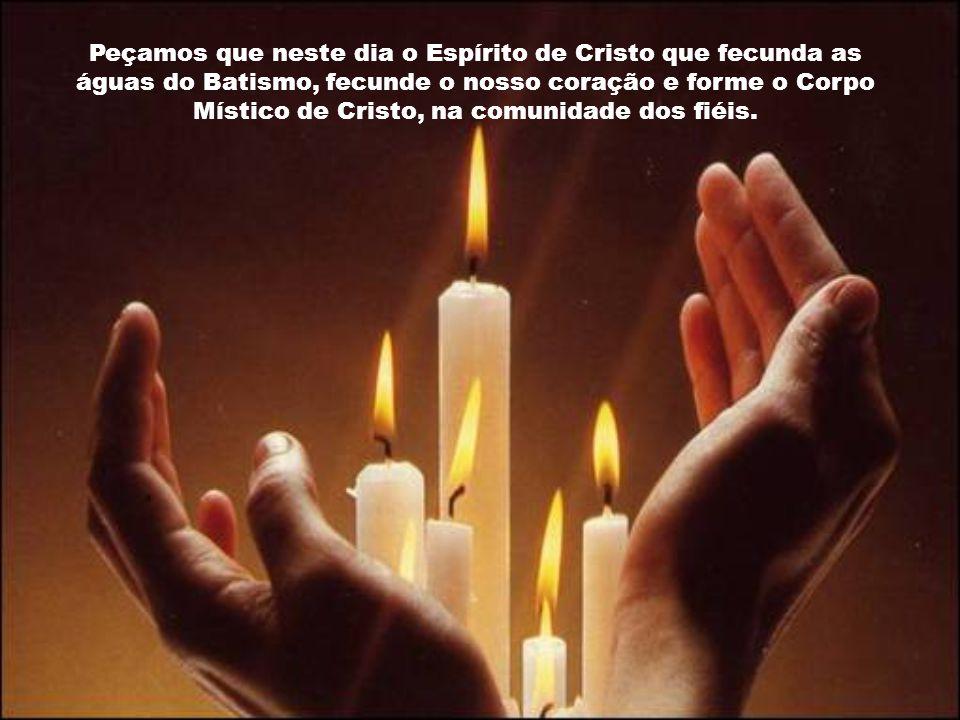 Peçamos que neste dia o Espírito de Cristo que fecunda as águas do Batismo, fecunde o nosso coração e forme o Corpo Místico de Cristo, na comunidade dos fiéis.