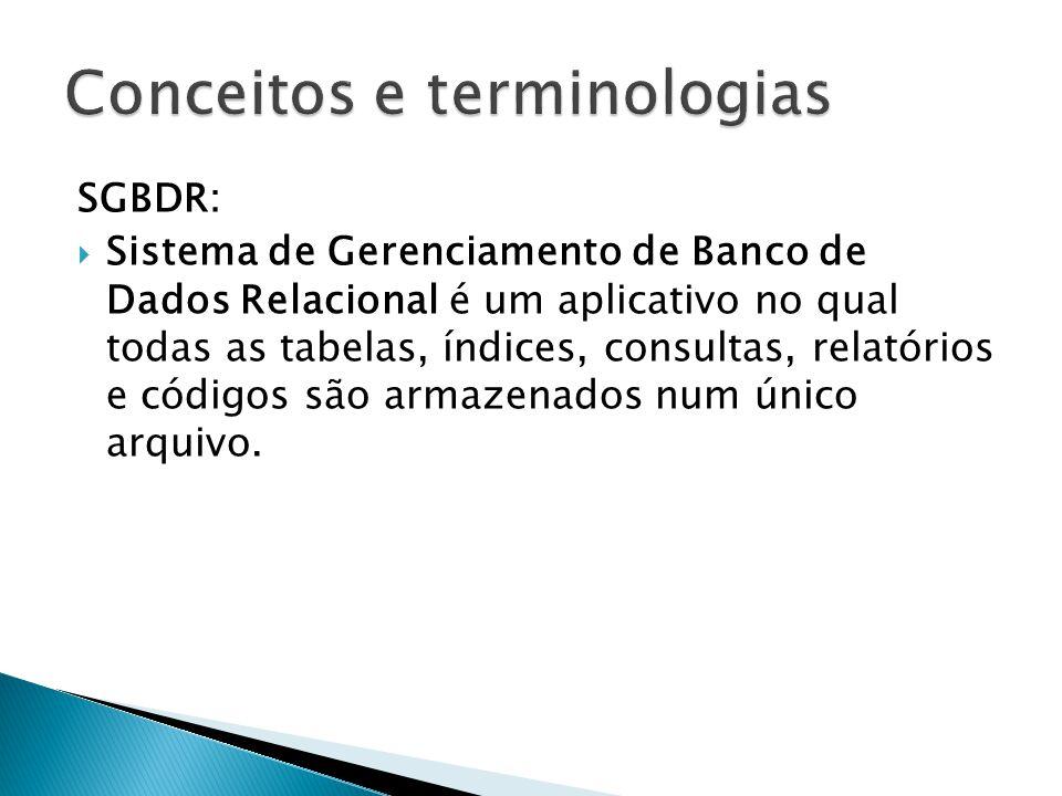 SGBDR:  Sistema de Gerenciamento de Banco de Dados Relacional é um aplicativo no qual todas as tabelas, índices, consultas, relatórios e códigos são armazenados num único arquivo.