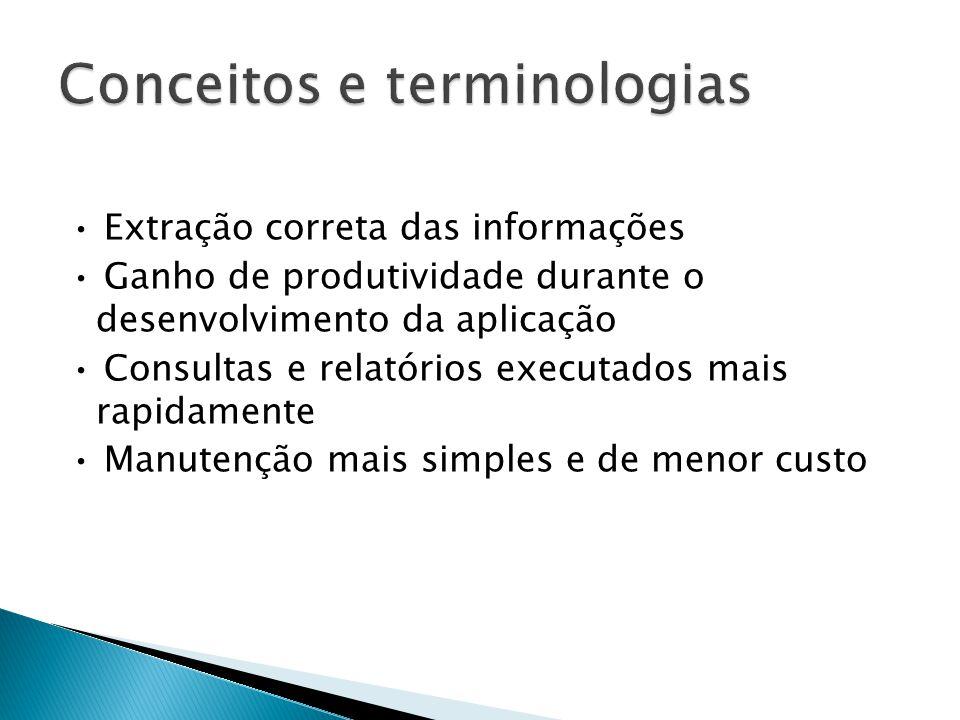 • Extração correta das informações • Ganho de produtividade durante o desenvolvimento da aplicação • Consultas e relatórios executados mais rapidamente • Manutenção mais simples e de menor custo