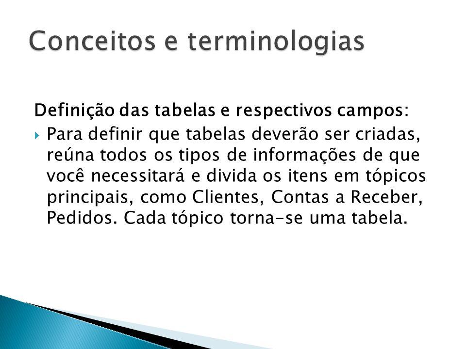 Definição das tabelas e respectivos campos:  Para definir que tabelas deverão ser criadas, reúna todos os tipos de informações de que você necessitará e divida os itens em tópicos principais, como Clientes, Contas a Receber, Pedidos.