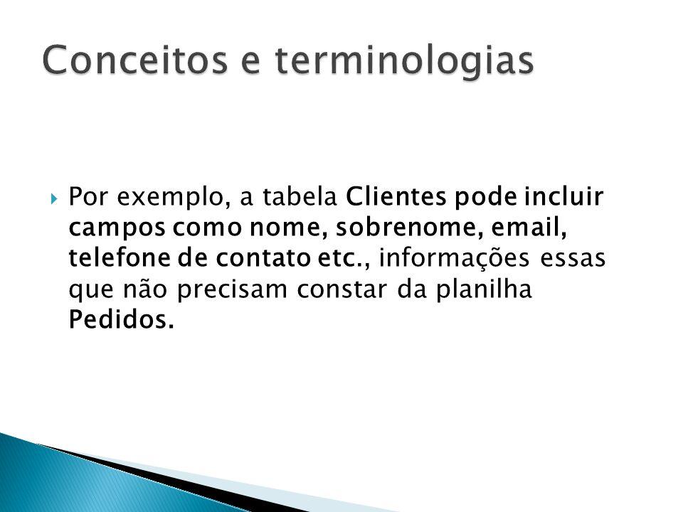  Por exemplo, a tabela Clientes pode incluir campos como nome, sobrenome, email, telefone de contato etc., informações essas que não precisam constar da planilha Pedidos.