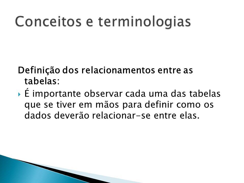 Definição dos relacionamentos entre as tabelas:  É importante observar cada uma das tabelas que se tiver em mãos para definir como os dados deverão relacionar-se entre elas.