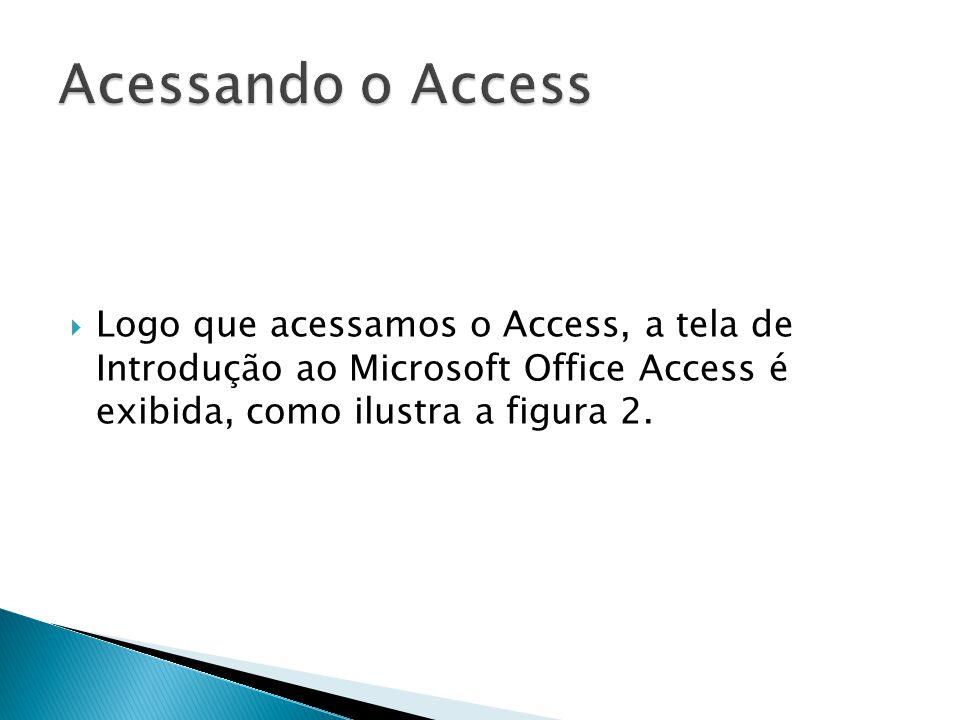  Logo que acessamos o Access, a tela de Introdução ao Microsoft Office Access é exibida, como ilustra a figura 2.