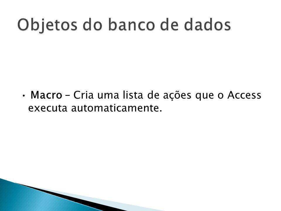 • Macro – Cria uma lista de ações que o Access executa automaticamente.