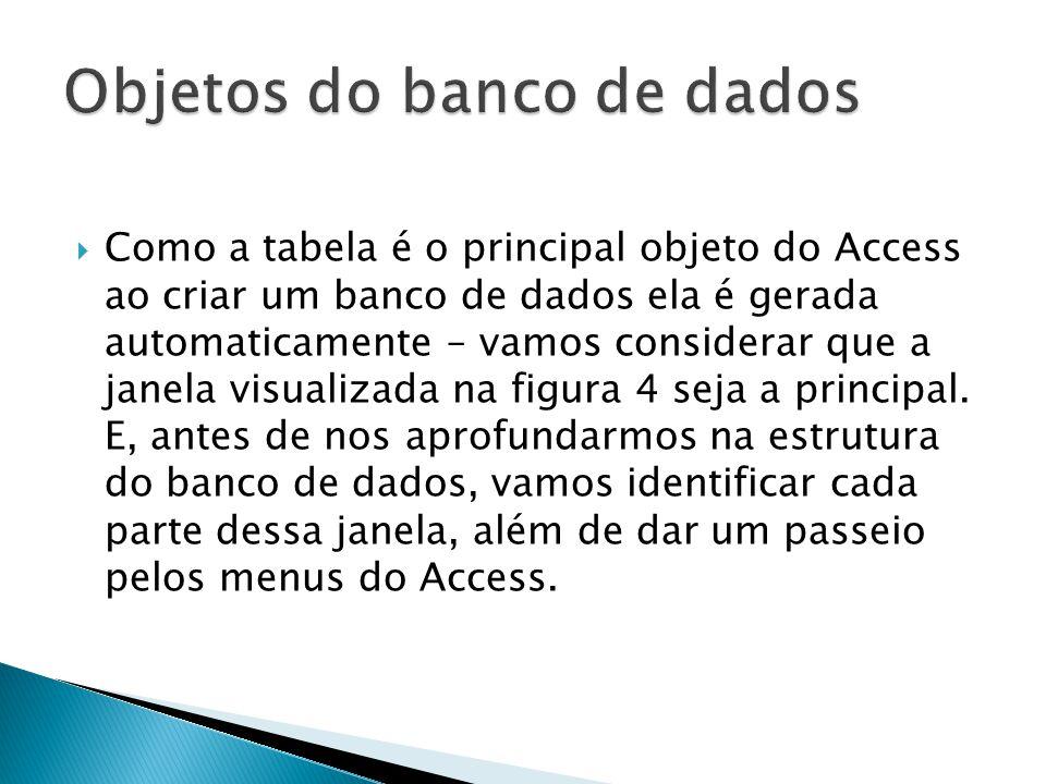  Como a tabela é o principal objeto do Access ao criar um banco de dados ela é gerada automaticamente – vamos considerar que a janela visualizada na figura 4 seja a principal.