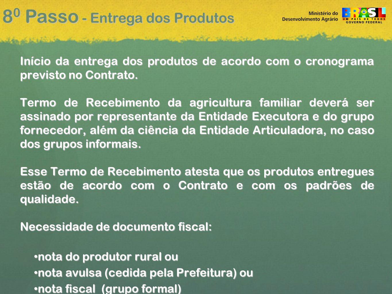 8 0 Passo - Entrega dos Produtos Início da entrega dos produtos de acordo com o cronograma previsto no Contrato.