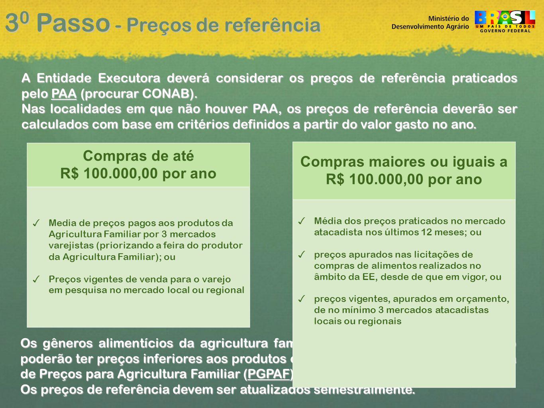 3 0 Passo - Preços de referência A Entidade Executora deverá considerar os preços de referência praticados pelo PAA (procurar CONAB).