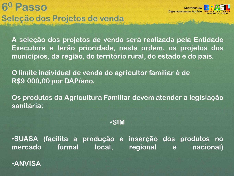 A seleção dos projetos de venda será realizada pela Entidade Executora e terão prioridade, nesta ordem, os projetos dos municípios, da região, do território rural, do estado e do país.