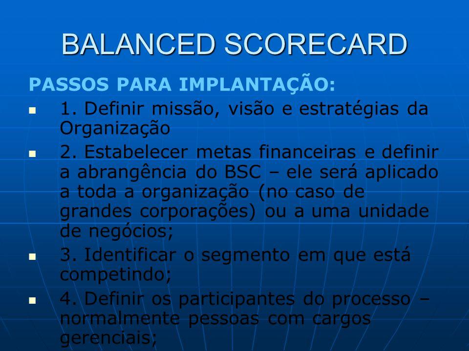 PASSOS PARA IMPLANTAÇÃO:   1. Definir missão, visão e estratégias da Organização   2. Estabelecer metas financeiras e definir a abrangência do BSC