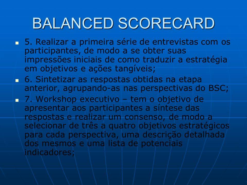 BALANCED SCORECARD   5. Realizar a primeira série de entrevistas com os participantes, de modo a se obter suas impressões iniciais de como traduzir