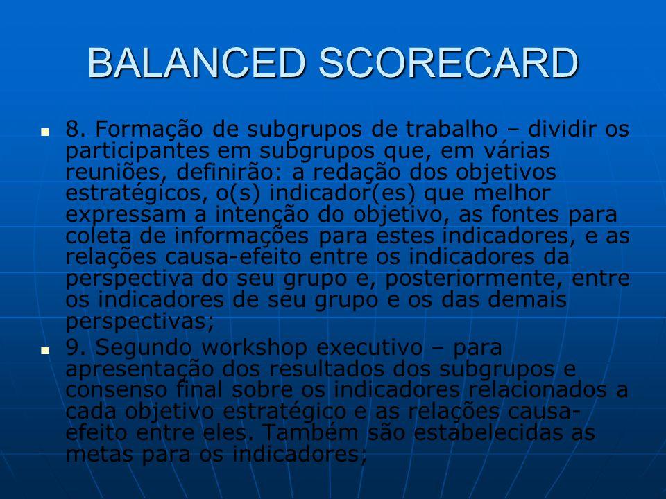 BALANCED SCORECARD   8. Formação de subgrupos de trabalho – dividir os participantes em subgrupos que, em várias reuniões, definirão: a redação dos