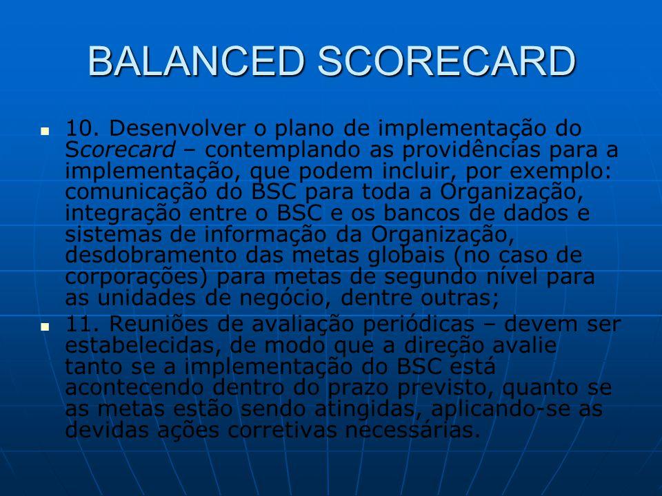 BALANCED SCORECARD   10. Desenvolver o plano de implementação do Scorecard – contemplando as providências para a implementação, que podem incluir, p