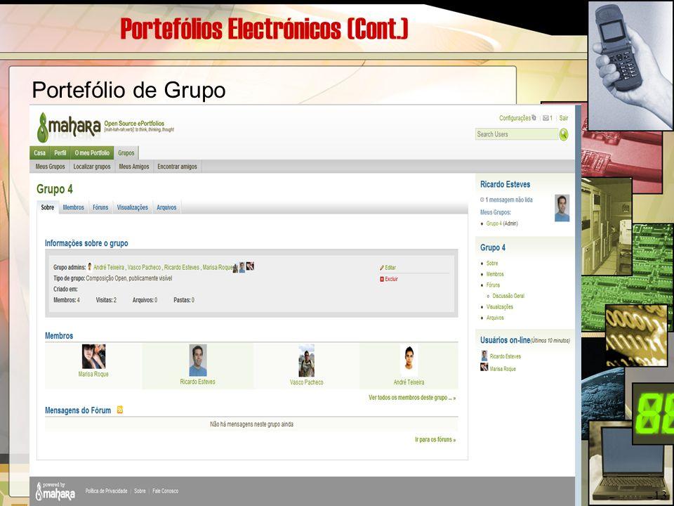 Portefólios Electrónicos (Cont.) Portefólio de Grupo 13