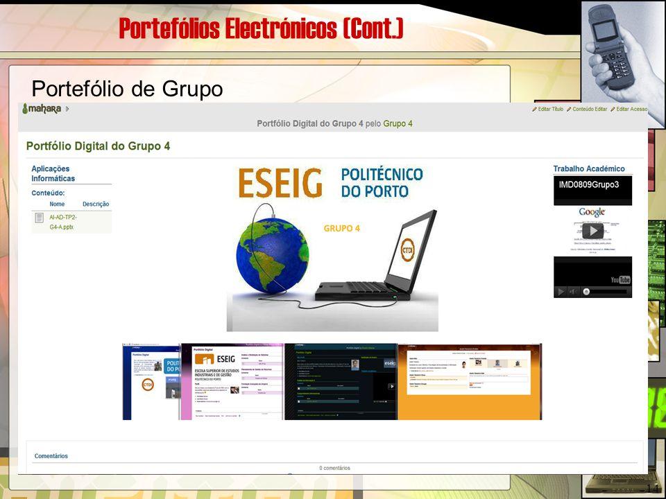Portefólios Electrónicos (Cont.) Portefólio de Grupo 14