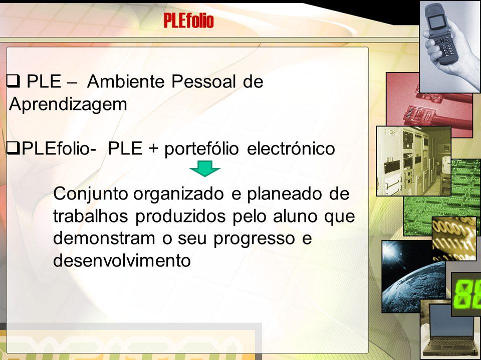 PLEfolio  PLE – Ambiente Pessoal de Aprendizagem  PLEfolio- PLE + portefólio electrónico Conjunto organizado e planeado de trabalhos produzidos pelo