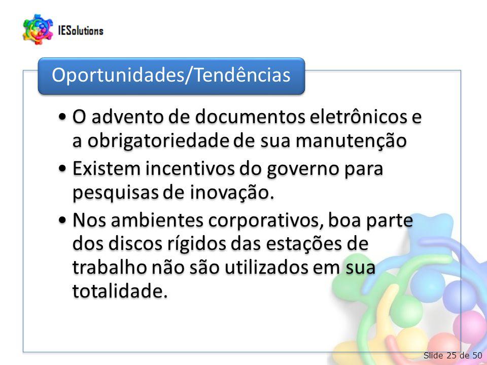 Slide 25 de 50 •O advento de documentos eletrônicos e a obrigatoriedade de sua manutenção •Existem incentivos do governo para pesquisas de inovação.
