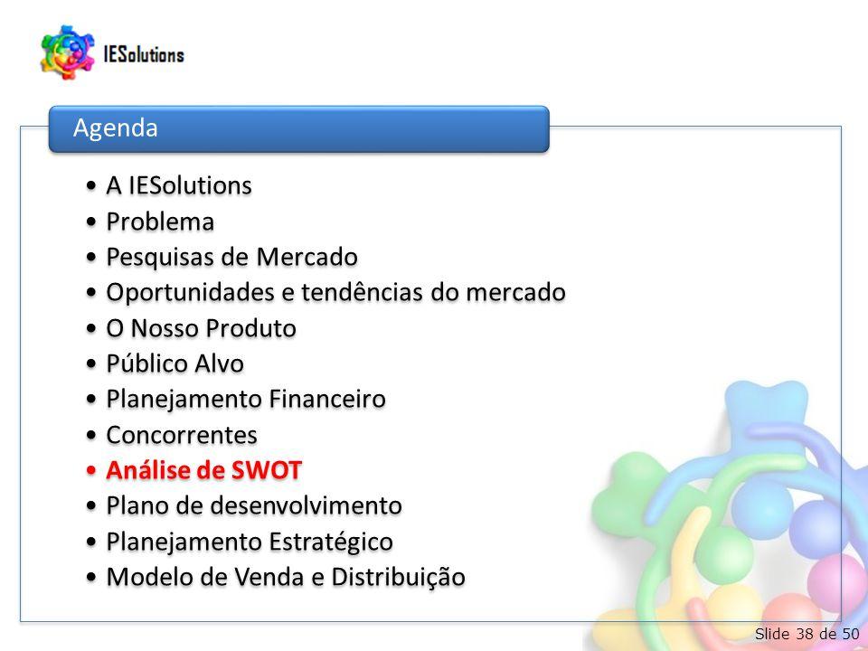 Slide 38 de 50 •A IESolutions •Problema •Pesquisas de Mercado •Oportunidades e tendências do mercado •O Nosso Produto •Público Alvo •Planejamento Financeiro •Concorrentes •Análise de SWOT •Plano de desenvolvimento •Planejamento Estratégico •Modelo de Venda e Distribuição Agenda