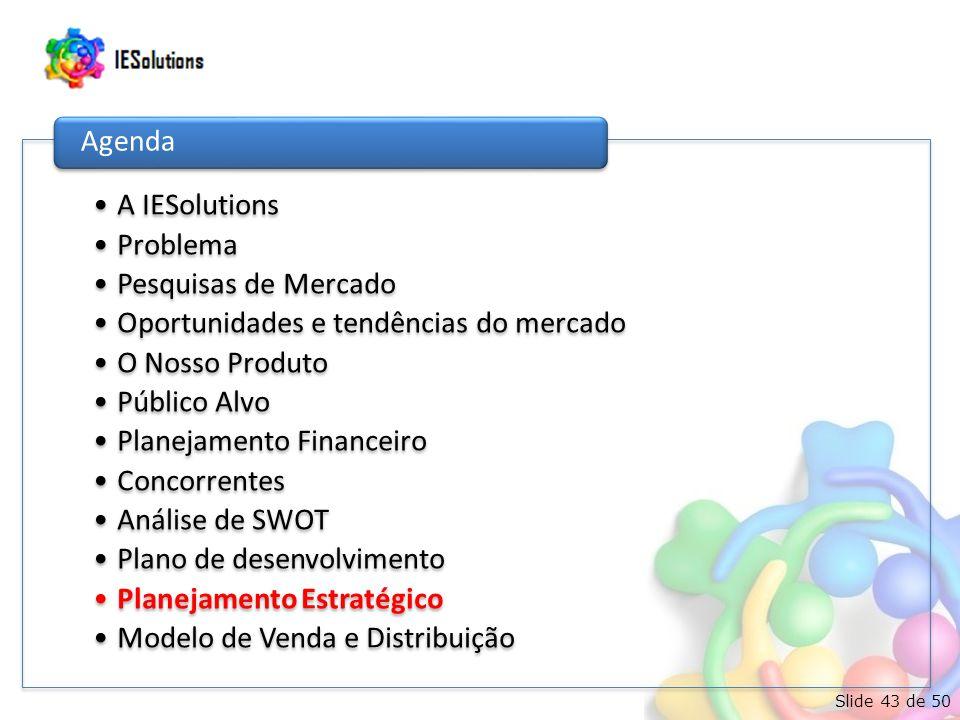 Slide 43 de 50 •A IESolutions •Problema •Pesquisas de Mercado •Oportunidades e tendências do mercado •O Nosso Produto •Público Alvo •Planejamento Financeiro •Concorrentes •Análise de SWOT •Plano de desenvolvimento •Planejamento Estratégico •Modelo de Venda e Distribuição Agenda