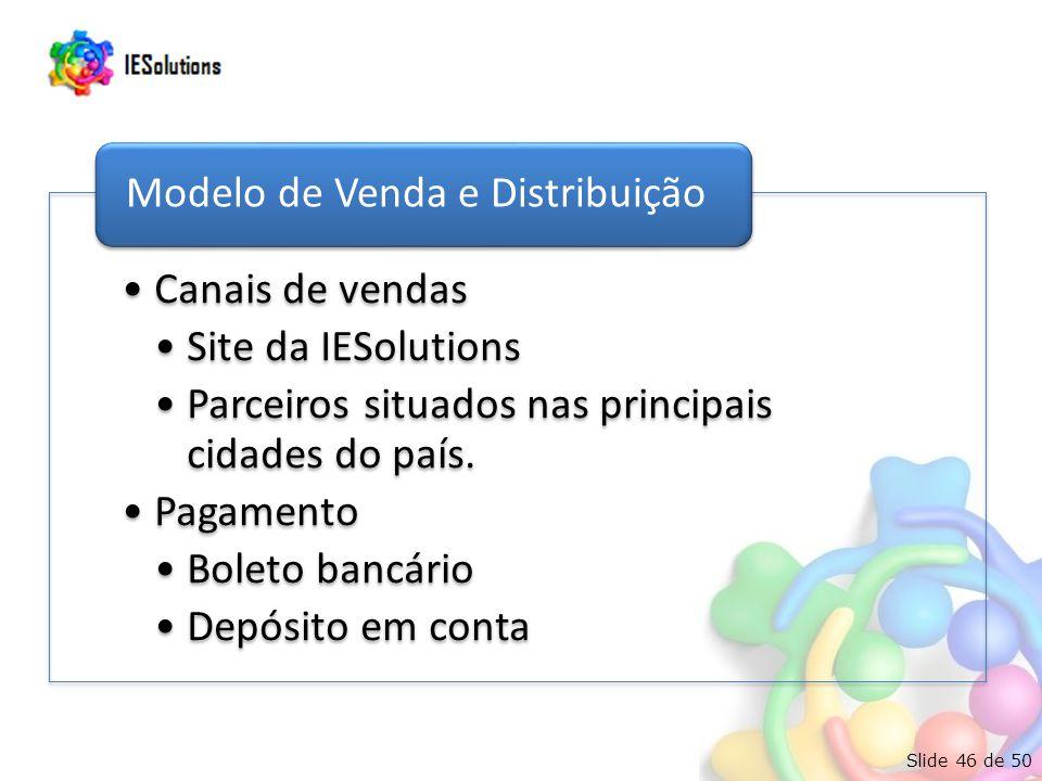 Slide 46 de 50 •Canais de vendas •Site da IESolutions •Parceiros situados nas principais cidades do país.