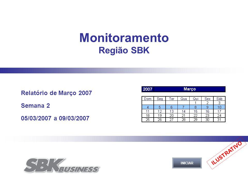 Monitoramento Região SBK Relatório de Março 2007 Semana 2 05/03/2007 a 09/03/2007 INICIAR ILUSTRATIVO