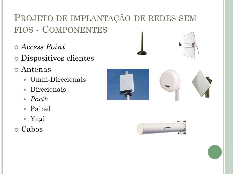 P ROJETO DE IMPLANTAÇÃO DE REDES SEM FIOS - C OMPONENTES Access Point Dispositivos clientes Antenas  Omni-Direcionais  Direcionais  Pacth  Painel