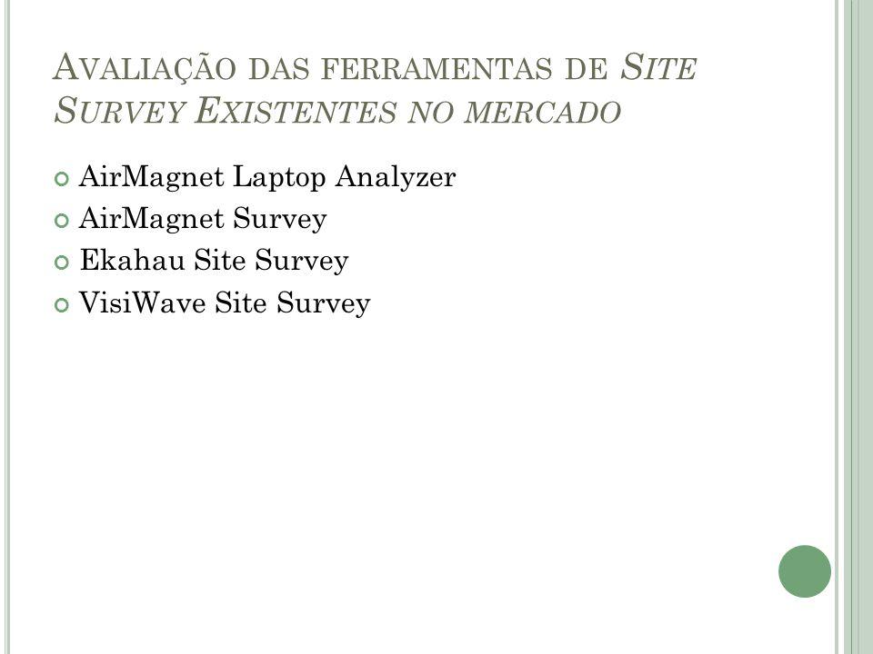 A VALIAÇÃO DAS FERRAMENTAS DE S ITE S URVEY E XISTENTES NO MERCADO AirMagnet Laptop Analyzer AirMagnet Survey Ekahau Site Survey VisiWave Site Survey