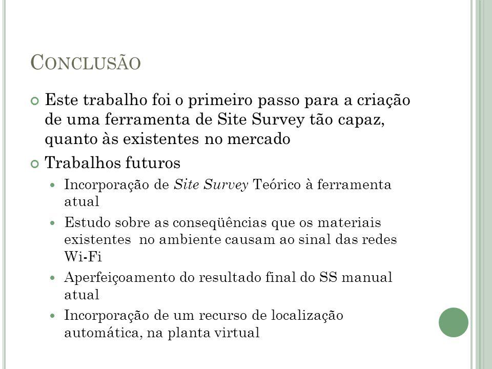 C ONCLUSÃO Este trabalho foi o primeiro passo para a criação de uma ferramenta de Site Survey tão capaz, quanto às existentes no mercado Trabalhos fut