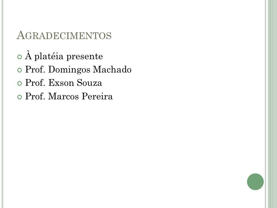 A GRADECIMENTOS À platéia presente Prof. Domingos Machado Prof. Exson Souza Prof. Marcos Pereira