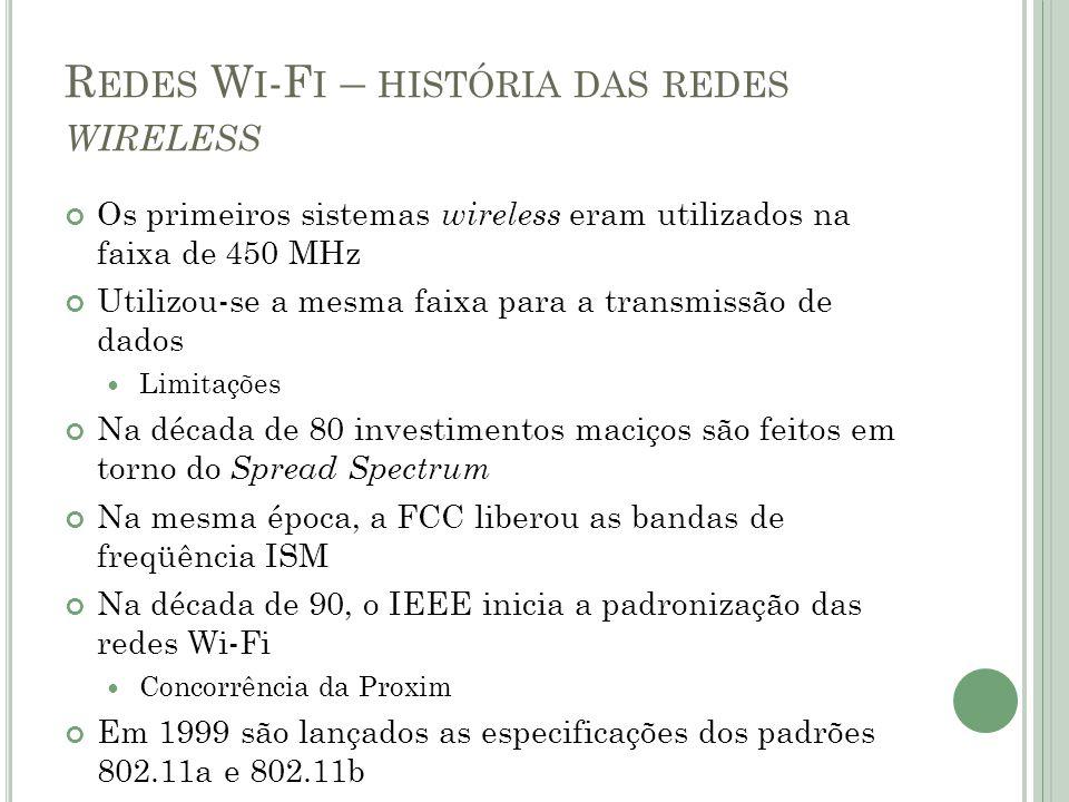 R EDES W I -F I – HISTÓRIA DAS REDES WIRELESS Os primeiros sistemas wireless eram utilizados na faixa de 450 MHz Utilizou-se a mesma faixa para a tran