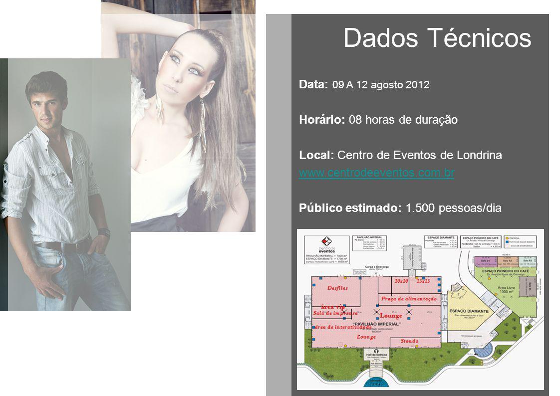 Dados Técnicos Data: 09 A 12 agosto 2012 Horário: 08 horas de duração Local: Centro de Eventos de Londrina www.centrodeeventos.com.br Público estimado