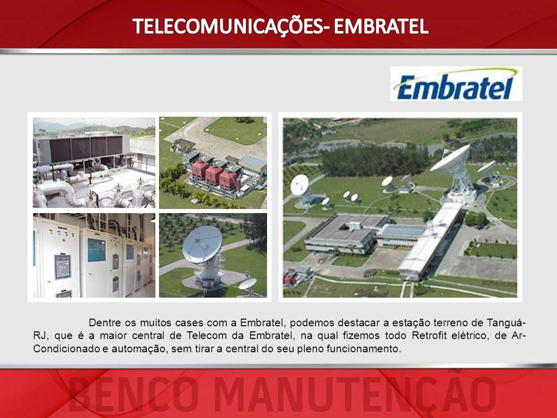 Dentre os muitos cases com a Embratel, podemos destacar a estação terreno de Tanguá- RJ, que é a maior central de Telecom da Embratel, na qual fizemos