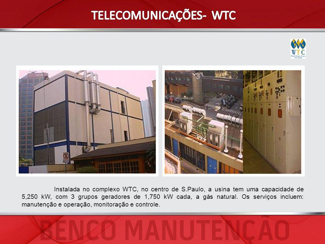 Instalada no complexo WTC, no centro de S.Paulo, a usina tem uma capacidade de 5,250 kW, com 3 grupos geradores de 1,750 kW cada, a gás natural. Os se