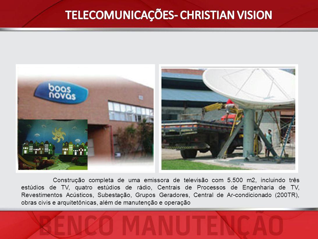 Construção completa de uma emissora de televisão com 5.500 m2, incluindo três estúdios de TV, quatro estúdios de rádio, Centrais de Processos de Engen